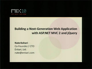 Building a Next-Generation Web Application with Microsoft ASP.NET MVC 2 and jQuery