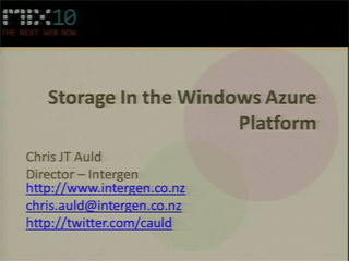 Using Storage in the Windows Azure Platform