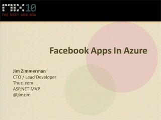 Building Facebook Apps with Microsoft .NET and Deploying to Windows Azure