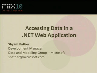 Accessing Data in a Microsoft .NET-Connected Web Application