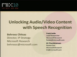 Unlocking Audio/Video Content with Speech Recognition