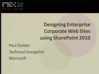 Designing Corporate Web Sites using SharePoint 2010