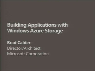Building Web Applications with Windows Azure Storage