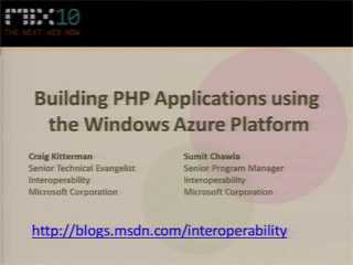 Building PHP Applications using the Windows Azure Platform