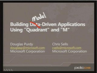 "Building Data-Driven Applications Using Microsoft Project Code Name ""Quadrant"" and Microsoft Project Code Name ""M"""