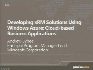 Developing xRM Solutions Using Windows Azure