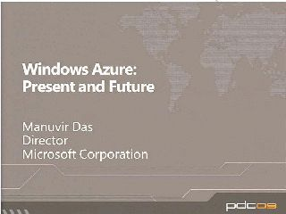 Windows Azure Present and Future
