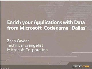 "Enrich your Applications with Data from Microsoft  Project Code Name ""Dallas"""