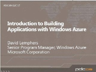 Introduction to Building Applications with Windows Azure