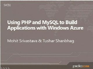 Developing PHP and MySQL Applications with Windows Azure