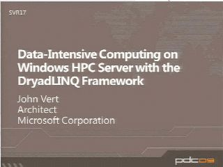 Data-Intensive Computing on Windows HPC Server with the DryadLINQ Framework