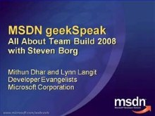 geekSpeak recording: All About Team Build 2008 with Steven Borg