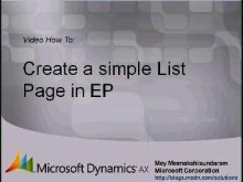 Microsoft Dynamics AX 2009 – Creating simple List Page in  Enterprise Portal