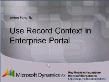 Microsoft Dynamics AX 2009 – Using Record Context in Enterprise Portal