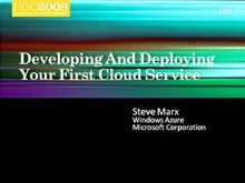 Developing and Deploying Your First Windows Azure Service