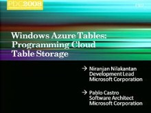 Windows Azure: Modeling Data for Efficient Access at Scale