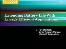 Windows 7: Extending Battery Life with Energy Efficient Applications