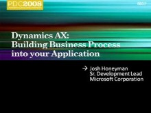 Microsoft Dynamics AX: Building Business Process into Your Application
