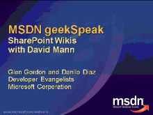 geekSpeak recording - SharePoint Wikis with David Mann