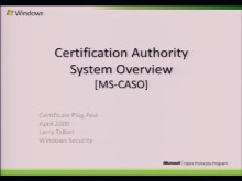 Certification Authority System Overview