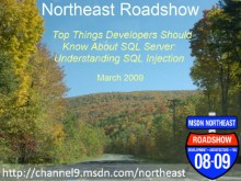 Northeast Roadshow - Top things developers should know about SQL Server - Understanding SQL Injection