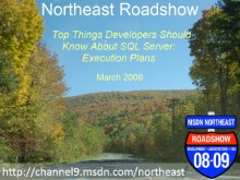 Northeast Roadshow - Top Things Developers Should Know About SQL Server - Execution Plans