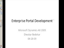 Dynamics AX Enterprise Portal Development Webinar