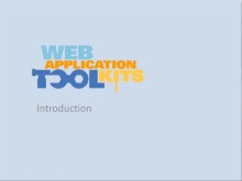 Web Application Toolkits: Introduction