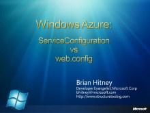 Azure Miniseries #3: ServiceConfig vs web.config
