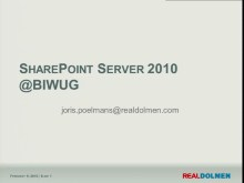 BIWUG session: Introduction to SharePoint Server 2010