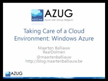 Architect Forum: Taking Care of a Cloud Environment: Windows Azure