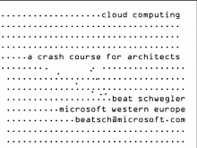 SACVIE 2010: Cloud Computing – A Crash Course for Architects