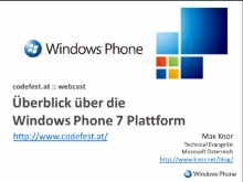Windows Phone 7: Plattform Überblick