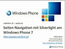 Windows Phone 7: Seiten-Navigation in Silverlight