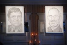 Bill Gates and Steve Jobs together at D
