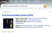 Get Grammy Info via Bing