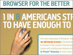 Internet Explorer 8 - Donating meals for downloads