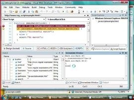 Debugging Jscript in IE using VWD Express