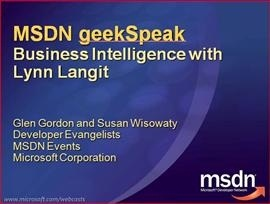 geekSpeak recording: Business Intelligence with Lynn Langit