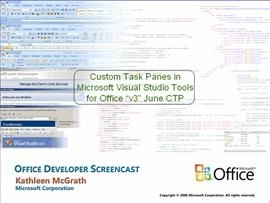 "Custom Task Panes in Microsoft VSTO ""v3"" June CTP"