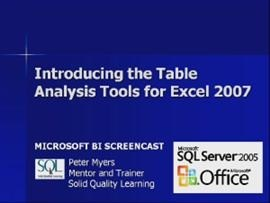 Business Intelligence #12b: Introducing the Table Analysis Tool for Excel 2007