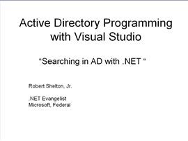 Searching Active Directory with .NET (Visual Studio 2005)