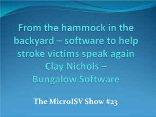 From the hammock in the backyard - software to help stroke victims speak again - Clay Nichols - Bung