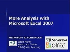 Business Intelligence #11a: More Analysis with Microsoft Excel 2007