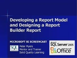 Business Intelligence #06a: Developing a Report Model and Designing a Report Builder Report