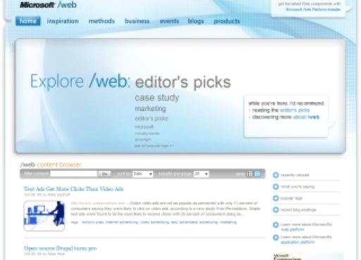 /web: Microsoft's New Site For Web Professionals