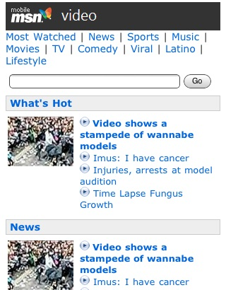 MSN Mobile Adds More Videos