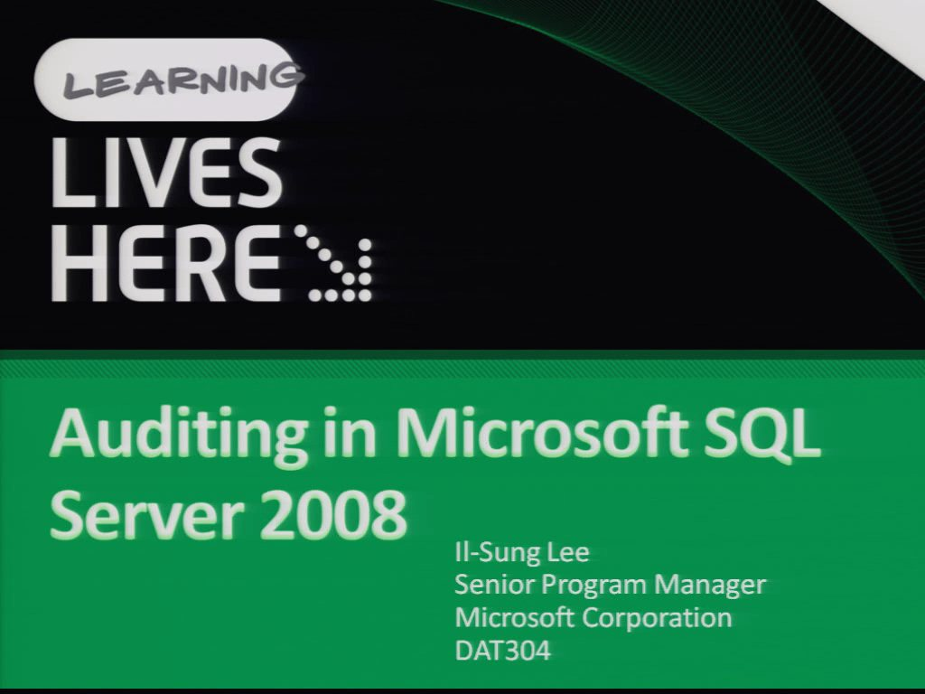 Auditing in Microsoft SQL Server 2008