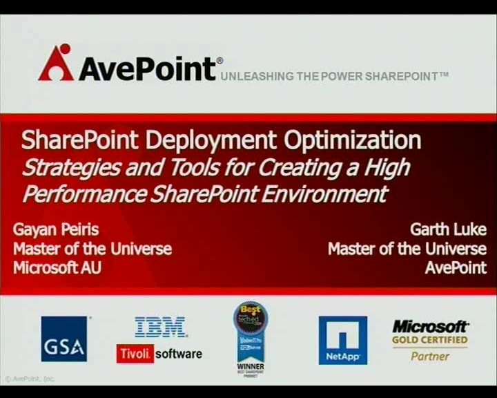 Creating a High Performance SharePoint Environment with Successful SharePoint Data Protection, Administration, and Replication