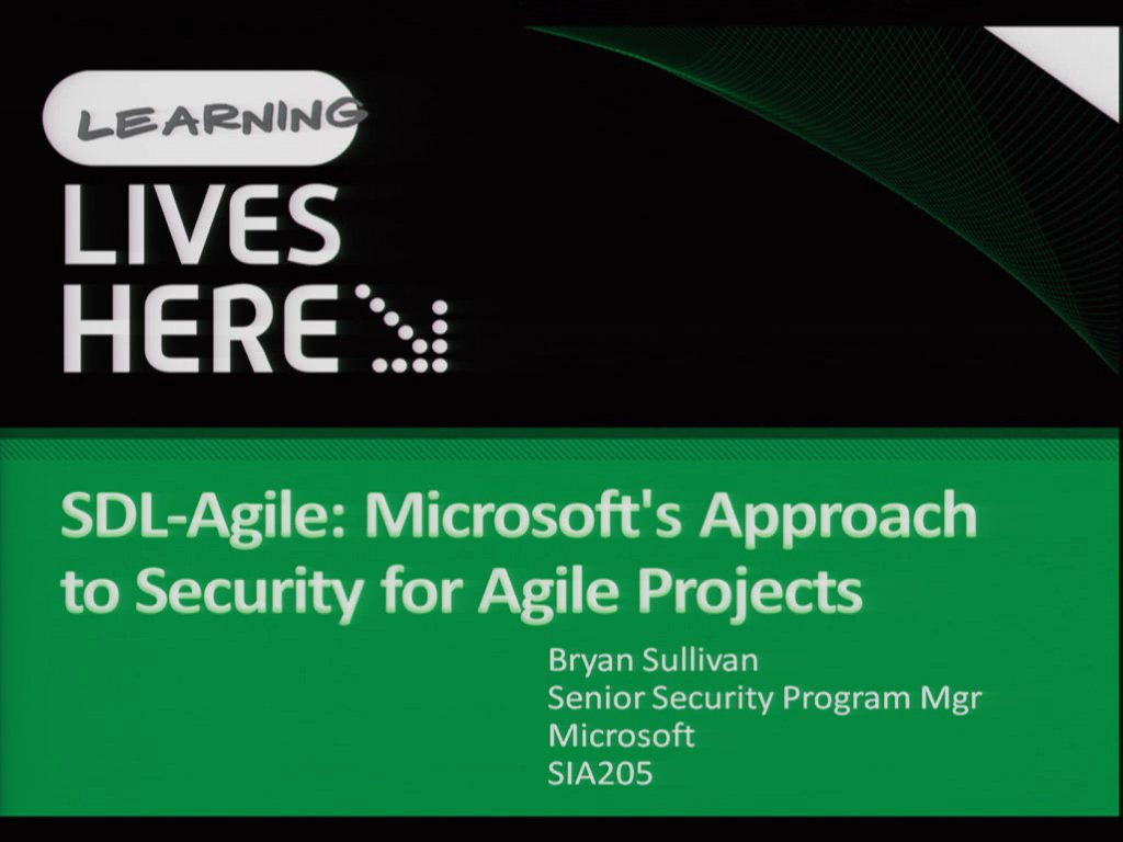 SDL-Agile: Microsoft's Approach to Security for Agile Projects